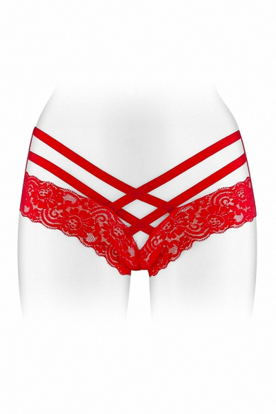 Tanga ouvert Anne - rouge